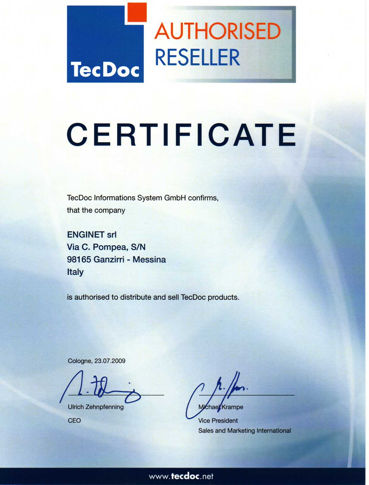 cert tecdoc enginet